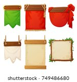 set of wooden banners with... | Shutterstock .eps vector #749486680