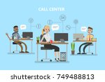 call center office. people with ... | Shutterstock .eps vector #749488813