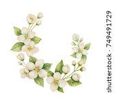watercolor wreath of flowers...   Shutterstock . vector #749491729