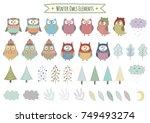 vector set of cute winter... | Shutterstock .eps vector #749493274