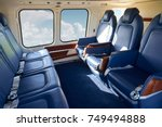 seats in empty helicopter cabin ... | Shutterstock . vector #749494888