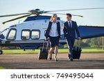businesswoman and businessman...   Shutterstock . vector #749495044