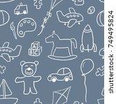 toys background pattern  ... | Shutterstock .eps vector #749495824