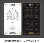 gemini 2018 year zodiac... | Shutterstock .eps vector #749496574