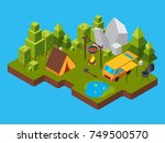 3d isometric landscape with... | Shutterstock .eps vector #749500570