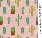 seamless pattern with cactus.... | Shutterstock .eps vector #749502958