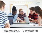 group of teenage students... | Shutterstock . vector #749503528