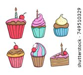set of delicious cupcake and... | Shutterstock .eps vector #749510329
