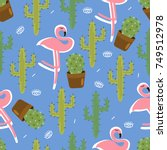 seamless pattern with cactus.... | Shutterstock .eps vector #749512978