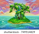 island with palm trees in the... | Shutterstock .eps vector #749514829
