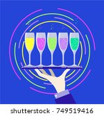 hand with tray and wine glasses ... | Shutterstock .eps vector #749519416
