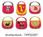 Children's handbags with Applique Elephant, giraffe, hippo, horse and zebra - stock photo