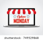open laptop with cyber monday....   Shutterstock .eps vector #749529868