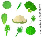 vegetables icons set in...
