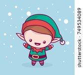 lovely cute kawaii chibi. elf... | Shutterstock .eps vector #749534089