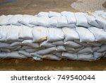 Small photo of Sandbag to prevent flooding in the rainy season, preventive concept.