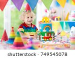 kids birthday party. child... | Shutterstock . vector #749545078