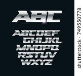 modern chrome vector font.... | Shutterstock .eps vector #749550778