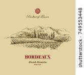 vineyard landscape hand drawn... | Shutterstock .eps vector #749553448