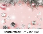 christmas frame with fir... | Shutterstock . vector #749554450