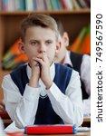 closeup portrait of a student...   Shutterstock . vector #749567590
