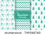 seamless christmas patterns.... | Shutterstock .eps vector #749568760