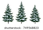 set green fir trees with white... | Shutterstock .eps vector #749568823