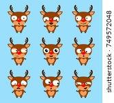 Set Of Cute Cartoon Reindeer...