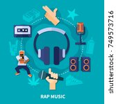 rap music round composition... | Shutterstock .eps vector #749573716