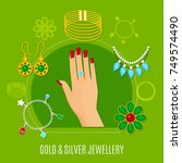 gold and silver jewelry... | Shutterstock .eps vector #749574490