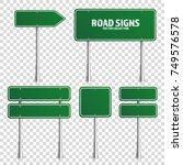 road green traffic sign. blank... | Shutterstock .eps vector #749576578