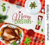 colored realistic turkey... | Shutterstock .eps vector #749578858