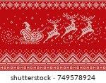 santa claus rides reindeer... | Shutterstock .eps vector #749578924