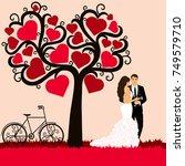bride and groom. wedding card... | Shutterstock .eps vector #749579710