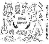 set of hand drawn hiking...