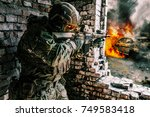 army soldier in action in... | Shutterstock . vector #749583418