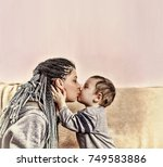 the little son kisses his... | Shutterstock . vector #749583886