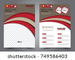 red and brown flyer template... | Shutterstock .eps vector #749586403