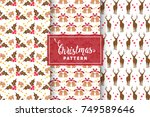 seamless christmas patterns.... | Shutterstock .eps vector #749589646