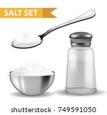 realistic 3d set with  salt... | Shutterstock .eps vector #749591050