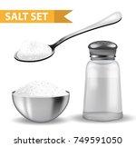 realistic 3d set with  salt... | Shutterstock .eps vector #749591050