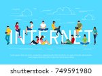 internet concept. young people... | Shutterstock . vector #749591980