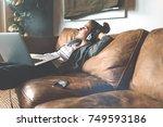 attractive young happy woman... | Shutterstock . vector #749593186