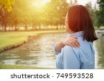 woman feeling exhausted and... | Shutterstock . vector #749593528