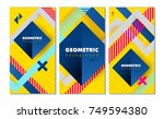 set of hipster modern geometric ... | Shutterstock .eps vector #749594380