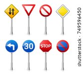 road signs collection isolated... | Shutterstock .eps vector #749596450