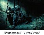 underground post apocalyptic... | Shutterstock . vector #749596900