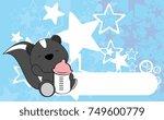 Stock vector cute baby skunk cartoon background copyspace in vector format 749600779