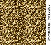 vector seamless 3d gold ornate... | Shutterstock .eps vector #749608039