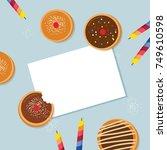 happy hanukkah  traditional... | Shutterstock .eps vector #749610598